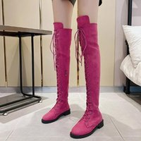 Boots Fashion Women Low Heels Spring Winter Over The Knee Quality Long Comfortable Square Elastic Fabric Thigh High