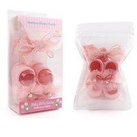 Baby Socks Cotton Lace Flower Girls Headbands 2Pcs Sets Cute Newborn First Walker Shoes Bowknot Princess Suits Birthday B6471