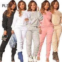 Womens Trainingsanzüge Simple Pure Color O Hals Langarm Crop Top Und Hosen 2 Stück Set Casual Lady Mode Frauen Trainingsanzüge