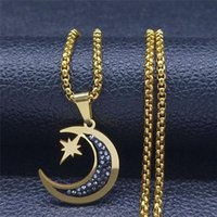 Pendant Necklaces Judaism Star Moon Stainless Steel Crystal Chain Women Men Gold Color Long Jewelry Collier Lune N4902S05