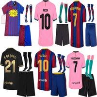 2021 Jersey de futebol Griezmann F. de Jong Coutinho Pjanic TrinCao O. Dembele Pedri 20 21 Kit de crianças adultos + meias camisa de futebol de alta qualidade