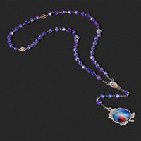 Pendant Necklaces Rose Christ Jesus Catholic Paternosters Rosary Necklace Long Blue Glass Prayer Beads Chain Religious Communion Jewelry