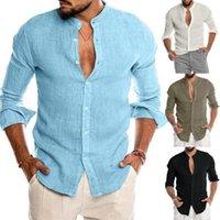 새로운 도착 남성용 셔츠 폴로스 V 넥 긴 소매 린넨 블렌드 파티 캐주얼 셔츠 통기성 선물 크기 M-3XL