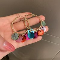 Hoop & Huggie VSnow Bohemian Multicolor Shell Circle Tassel Earring For Women Exaggerated Gold Color Metallic Earrings Jewelry Pendientes