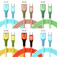 Quick Charge LED Light TPE Soft Type c Micro USb Cable 1m 3ft For Samsung S10 S20 S21 Xiaomi M3 m4 htc android phone pc