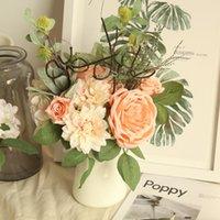 Fiori decorativi GATHONS DAHLIA peonia fascio di imitazione fiore artificiale fiore sfondo decorazione della parete boquet boquet