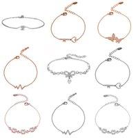 Link, Chain KIOOZOL Classic Charm Rose Gold Silver Color Heart Key Butterfly Heartbeat Shape Bracelet For Women's Jewelry 2021 131 KO1