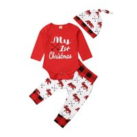 Clothing Sets Kids Christmas Clothes Set Born Baby Girl Boy Long Sleeve Romper Tops Deer Pants Hat Fall Winter Xmas Costuem