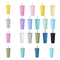 Новые кухонные барные инструменты 14 цветов пьют двойной палубой пластиковые соломенные чашки кофейной чашки 22 унций прямые пластиковые кружки ZC066