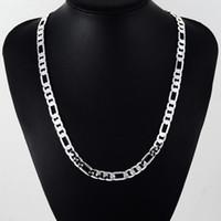 Ketten Männer Schmuck 20 Zoll 925 Sterling Silber 8mm Full Sidways Figaro Kette Halskette Für Frau Mann Mode Hochzeit Geschenk
