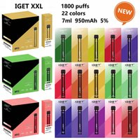 Оригинальные IGET XXL одноразовые E-сигареты POD Устройства наборов устройства 1800Установок 7ML 950mah Vape Stick Peen Закрытая система ECIG 5% Savor Starter Kit 22 цвета 100% подлинный