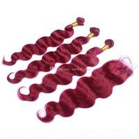 9a Cabello brasileño de Borgoña con encaje Frontal Cierre 4x4inch Body Wave # 99J Vino Red Human Hair 3 paquetes con cierre de encaje superior