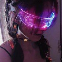 Free DHL Gadget led goggles cyberpunk transparent wear disco dancing new generation personality coolest future technical feeling 7 colors luminous eyeglasses