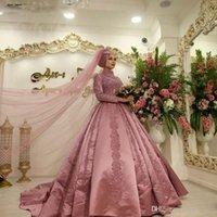 Dust Roze Islamitische Moslim Arabische Trouwjurk met lange mouwen Hoge nekbaljurk Dubai Kaftan Arabische Bruidsjurken Satijnen Groos de Mariee