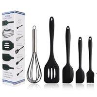 Silikon Küchenutensilien Set Kuchen Werkzeuge 5 teile / satz Ei Schläger Barbecue Pinselabschaber Unding Spatel DIY Backwerkzeug 5 Farben FWD9877