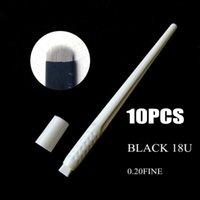 Tattoo Guns Kits Sterilized 10pcs Eyebrow Microblading Disposable Pen With Black 16U 18U Needle Blade Manual Microblade Tool 0.2