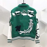 남성 자수 재킷 Unisex 패션 대형 힙합 Varsity 야구 자켓 가죽 슬리브 하이 스트리트 느슨한 맞는 편지지 외투 겉옷