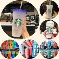 DHL Starbucks 24oz / 710ml 플라스틱 머그잔 텀블러 인어 여신 색 변경 재사용 가능한 맑은 마시는 평평한 바닥 기둥 모양 뚜껑 밀짚 컵
