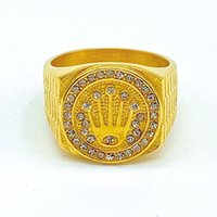 Rapper Mens Stainless Steel Wide Hip Hop Ring Statement Gold Plated Iced Out Crystal Crown Party Jewelry