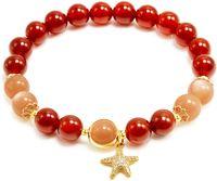 Red Agate and Sunstone Beads Bracelet, Lucky Starfish Charm Bracelet, 14K Gold Plated Natural Handmade Stretch Beaded Bracelets