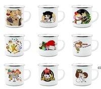 12oz Sublimation Enamel mug heat transfer enamelled tumblers with handle 350ml Blank white sublimated Coffee mugs by sea DHD10410