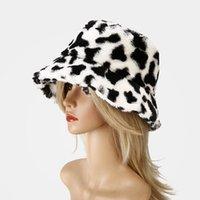 الشتاء أزياء بقرة طباعة أفخم دلو القبعات للنساء السياحة في الهواء الطلق قبعة الدافئة لينة المخملية الصياد كاب ZZC3815