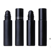 10ML Black Essential Oil Bottle Glass Roll On Perfume Crystal Roller Ball Bottles HWE8567