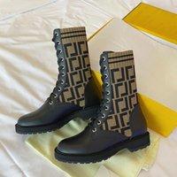 Jesień Zima Przyrodni Buty Moda Seksowne Dzianiny Elastyczne Skarpety Sznurowane Prawdziwej Skóry Martin Boot Designer FF Alfabetycznych Kobiet Buty Dama List Duży Rozmiar 35-42