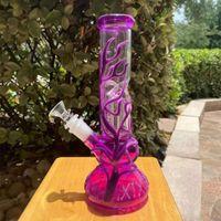2022 25 cm 10 polegadas premium púrpura brilho no cachimbo de água escuro tubos de água bong bongos de vidro com 18mm downstem e bacia nos armazém dos EUA