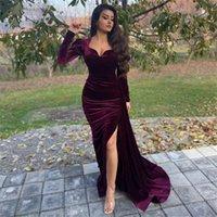 Arabic Mermaid Evening Dresses 2022 Long Sleeve Side Split Morocco Kaftan Soft Velvet Prom Long Women Party Gowns