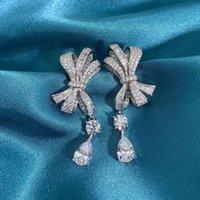 HBP Modeschmuck New S925 Silber Bogen Luxus Full Diamond Water Drop Ohrringe