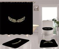 Trenddruck Duschvorhang Set High Grad Badezimmer Vierteilige Klage Rutschfeste Deodorant Badematten