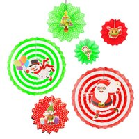 Christmas Decorations Cute Home Decor Wedding Printed Baby Shower DIY Paper Fan Store For Birthday Craft Shopping Mall Hanging Ornaments