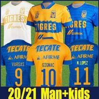 Mexique Uanl Tigres Jersey Soccer 7 étoiles Uniformes 20 21 C.Salcedo Vargas Vargas Pizarro Gignac Chemises de football Homme Kit Kit Camiseta de Tigre Liga MX 20/21 Sports Sports manches courtes