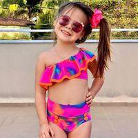 One-Pieces 2PCS Toddler Baby Girls Tie-Dye Ruffle Swimwear Strapless Print Two Piece Swimsuit Summer Bikini Set Sleeveless Beachwear