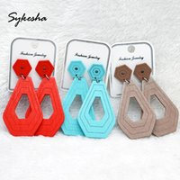 Stud 2021 Fashion Jewelry Spring Summer Geometric Colorful Wood Earrings Statement For Women Holiday Bohemia