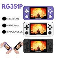 Hot R351P 3.5 polegadas IPS Handheld Retro Jogo Console RK3326 Open Source 3D Rocker 64G 5000 PS MD Video Music Jogos Player
