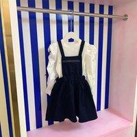 Clothing Sets Brand Designer Children's Girls Long Dresses 2021 Autumn White Knitted Sweater Top+Dress 2Pcs Suit Spring Kids