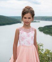 Girl's Dresses Flower Girls For Lace Applique Sleeveless Children Evening Party Gown Little First Communion