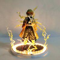 Demon Slayer Action Anime Figures Kimetsu No Yaiba Agatsuma Zenitsu Night Lights LED Set Figurine Model Toys для детей Модель C0220