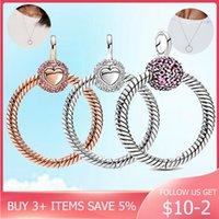 2021 Día de San Valentín 925 Sterling Silver Pave o Colgante Beads Charm Fit Original Pandora Collar Mujeres DIY Joyería Regalo Q0531