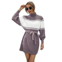 Casual Dresses 2021 Autumn Winter Mini Knitted Dress Women Purple Gray Black Europe America Fashion Loose Pullover Pencil N1205