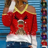 Rena dos desenhos animados Elk Xmas Árvore Impressão V-Neck Blusas Mulheres Christmas Roupas Glitter Pulôver Pullover Hoodie Esporte Casual Tops de Manga Longa T-shirt do Ombro Off G02anue