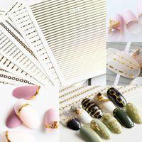 Etiqueta de uñas Cable de metal Cadena de metal Cadena de oro y alambre de plata 3D impermeable de uñas Decal de uñas Joyería de bricolaje