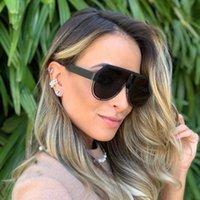 Mode Luxus Designer Übergroße Quadratische Sonnenbrille Männer Frauen Vintage Metall Große Rahmen Halbrandlos Eine Linse Sonnenbrille UV400 10 stücke Fastship