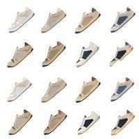 Mäns och kvinnors sneakers skor, högkvalitativa snakeskin ess, broderad randig promenad bee klassisk med boxad dammväska, unisex näsan av Blue Desert Moss 36-45
