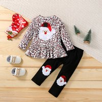 Christmas Kids Clothing Sets Girls Outfits Baby Clothes Long Sleeve Embroidered Leopard Print Dress Shirts Leggings Tights Infant Suit 2Pcs B7600