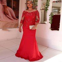 Party Dresses Red Plus Size Mother Of The Bride 2021 Sheer Long Sleeves Heavy Beading Satin Mermaid Formal Evening Gown
