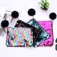 New21cmx16cm Реверсивные блестки Mermaid Glitter составляют сумку сумка мода сумка леди косметика вечерняя сцепление EWB7542