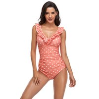 One-Piece Suits Women's Summer Sexy V Neck One Piece Swimsuit Ruffle Polka Dot Bathing Tummy-Control Ruched Padded Fashion Bikinis